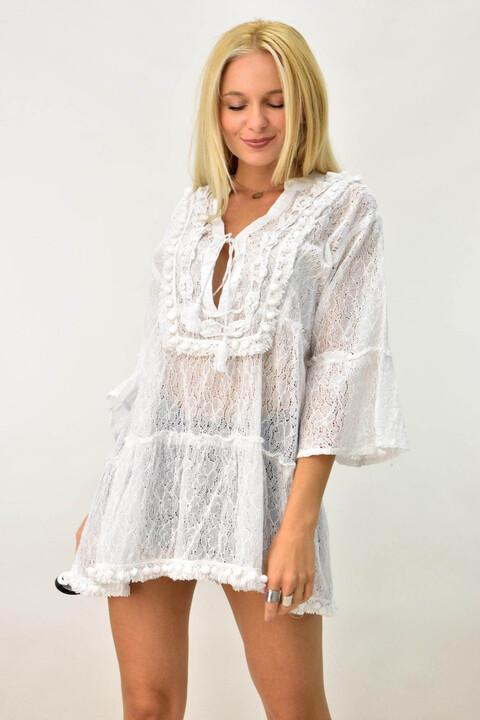 Μίνι φόρεμα για θάλασσα με δαντέλα - Λευκό