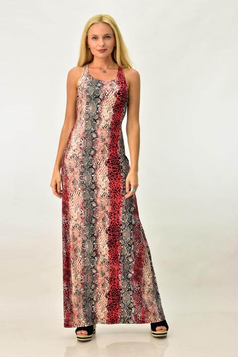 Εμπριμέ φόρεμα με σχέδιο στη πλάτη - Κόκκινο