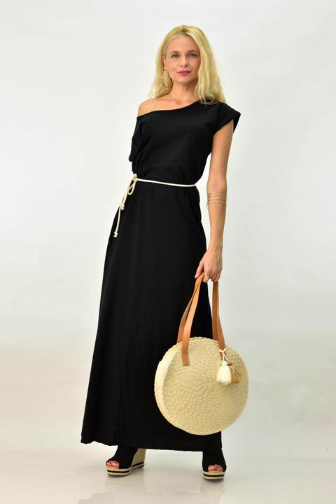Καθημερινό φόρεμα μακό με ζώνη - Μαύρο
