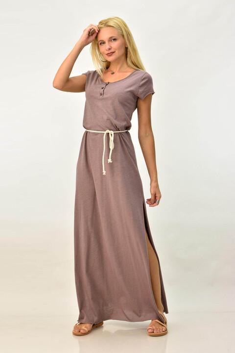 Μακρύ φόρεμα μακό με κουμπάκια και άνοιγματα - Μπεζ