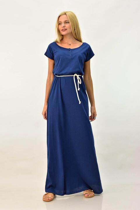 Μακρύ φόρεμα με κουμπάκια - Μπλε Τζιν