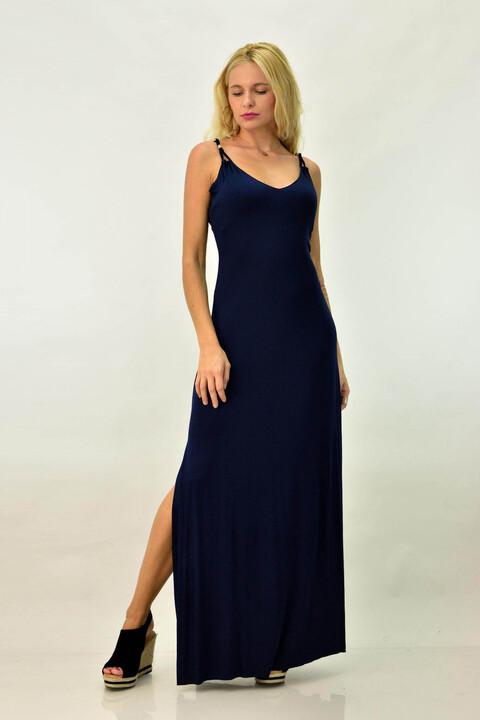 Γυναικείο μακρύ εξώπλατο φόρεμα με χιαστί - Μπλε Σκούρο