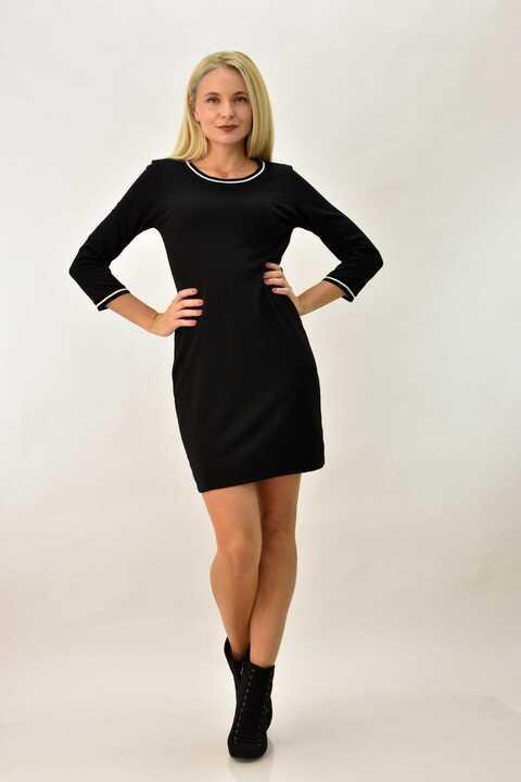 Φόρεμα με ριπ σχέδιο - Μαύρο