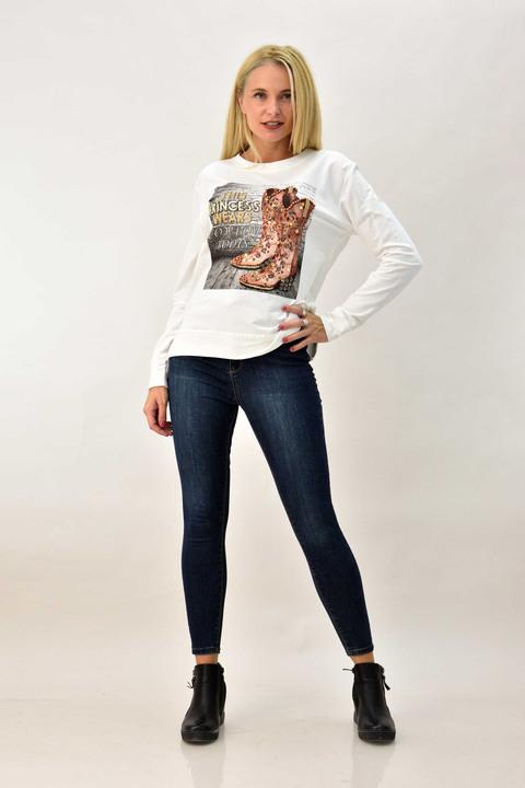 Γυναικεία μπλούζα φούτερ με υφαντά - Λευκό