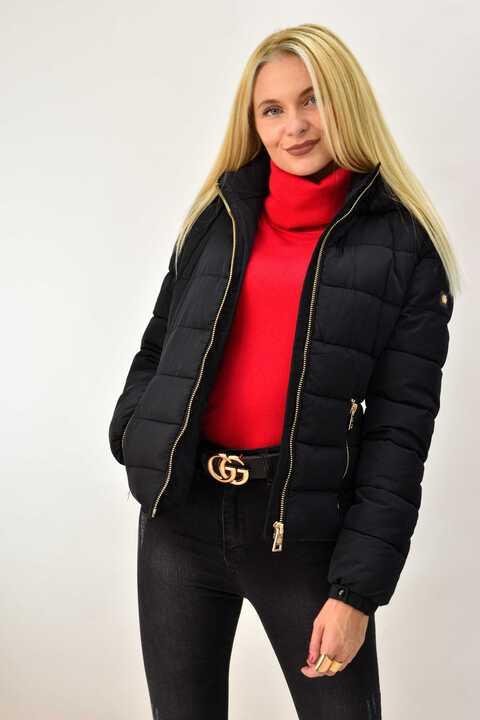 Γυναικείο μπουφάν μεσάτο μαύρο - Μαύρο