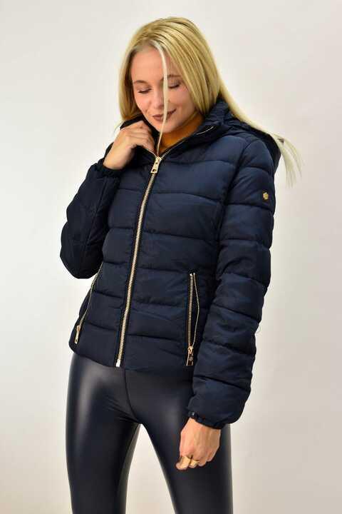 Γυναικείο μπουφάν μεσάτο μπλε σκούρο - Μπλε Σκούρο