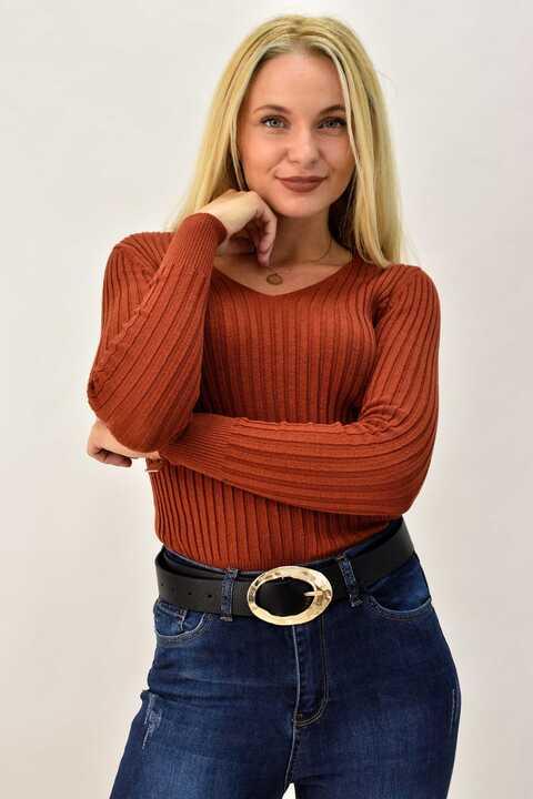 Γυναικεία πλεκτή μπλούζα ριπ με V - Κεραμιδί