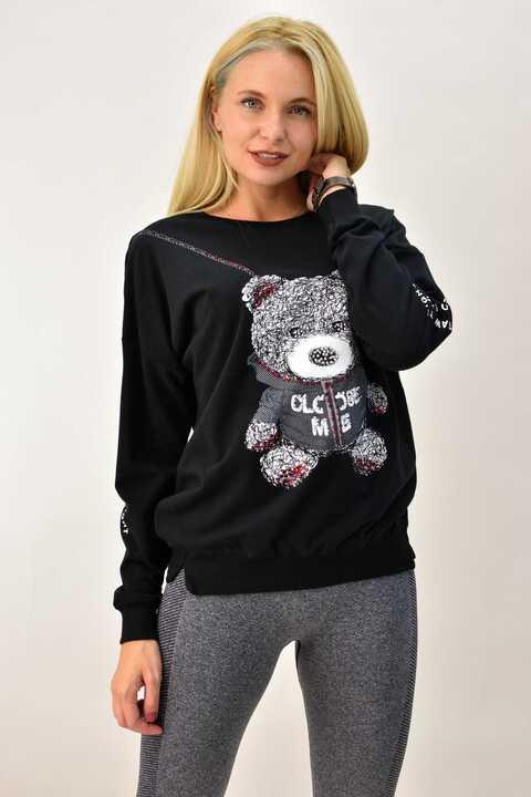 Γυναικεία μπλούζα φούτερ με στρας oversized  - Μαύρο