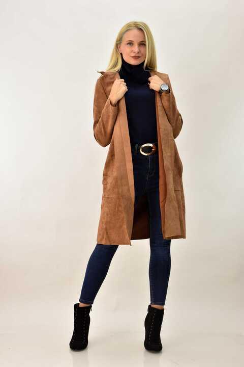 Γυναικείο παλτό μουτόν oversized - Μπεζ