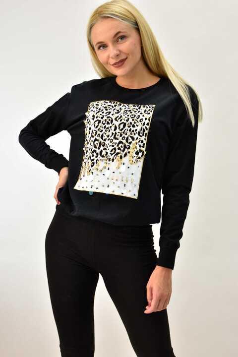 Γυναικείο animal print φούτερ με πέρλες oversized - Μαύρο