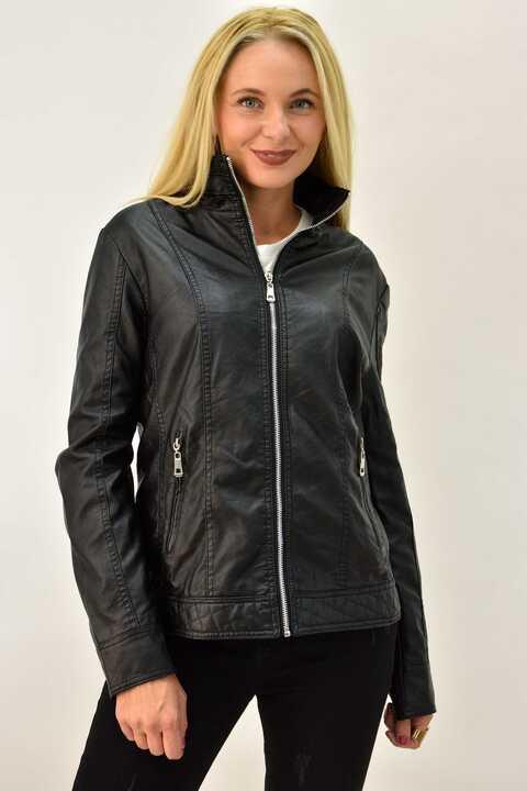 Γυναικείο δερμάτινο μπουφάν plus size - Μαύρο