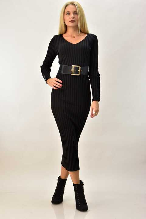 Γυναικείο μίντι φόρεμα ριπ - Μαύρο