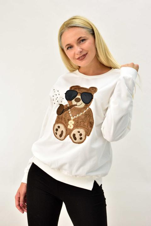 Γυναικείο μπλουζάκι φούτερ με στρας - Εκρού