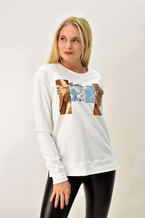 Γυναικεία μπλούζα φούτερ - Εκρού