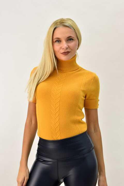 Πλεκτό κοντομάνικο μπλουζάκι ζιβάγκο με πλεξούδες - Μουσταρδί