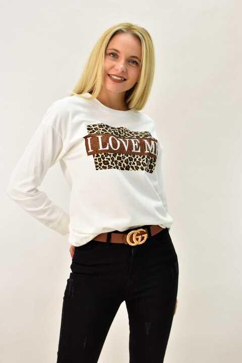 Γυναικεία μπλούζα φούτερ animal print οversized - Εκρού