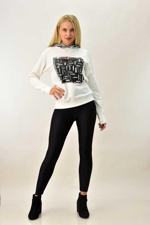 Γυναικεία μπλούζα φούτερ με υφαντό και κουκούλα - Εκρού