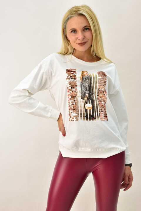 Μπλούζα φούτερ με υφαντό - Εκρού