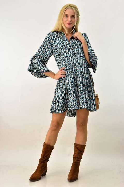 Κοντό γυναικείο φόρεμα με βολάν - Γαλάζιο