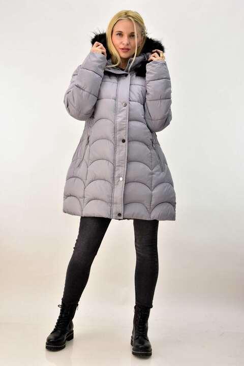 Γυναικείο μπουφάν με εσωτερική γούνα plus size  - Γκρι