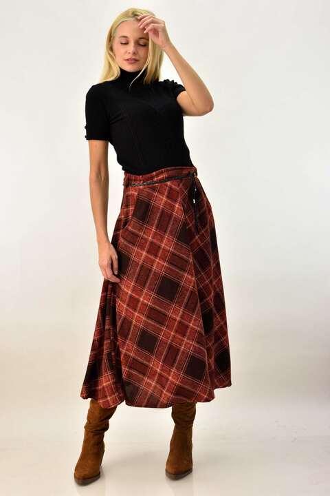 Καρό φούστα με τσέπες και ζώνη - Κανελί