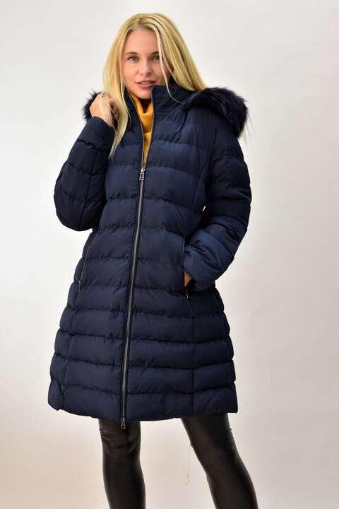 Γυναικείο μπουφάν plus size μπλε σκούρο - Μπλε Σκούρο