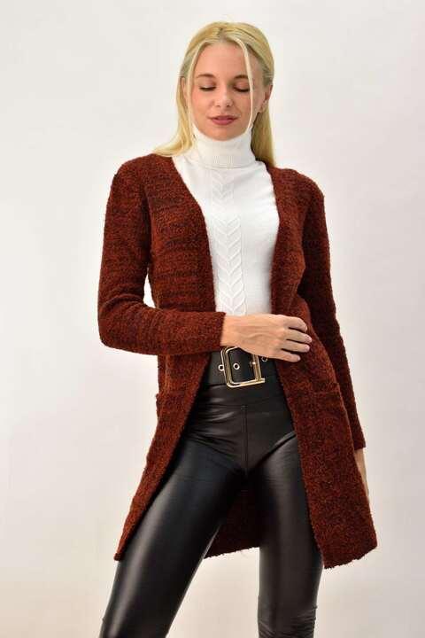 Γυναικεία πλεκτή ζακέτα με τσέπες - Κεραμιδί