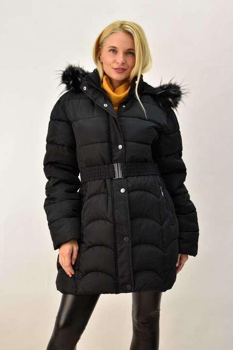 Γυναικείο μπουφάν plus size με επένδυση - Μαύρο