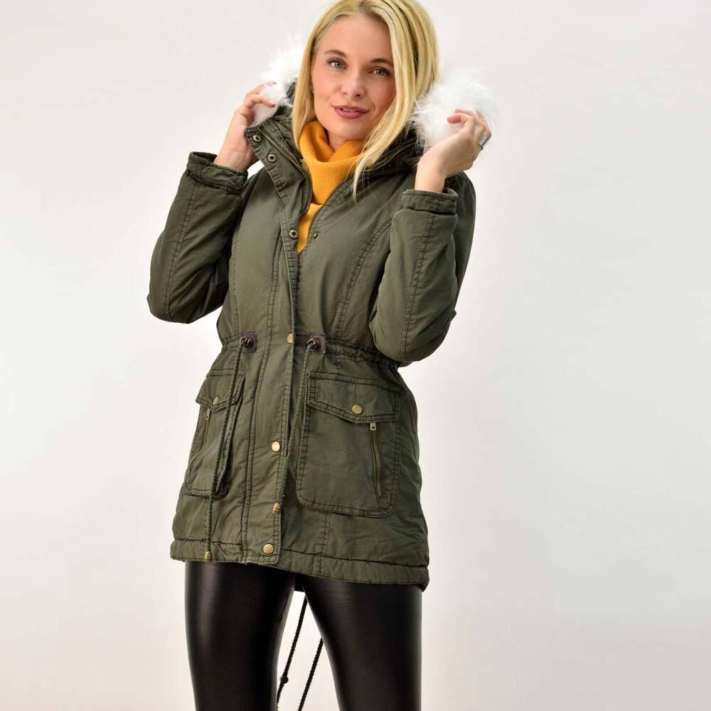 Γυναικείο μπουφάν παρκά με λευκή επένδυση
