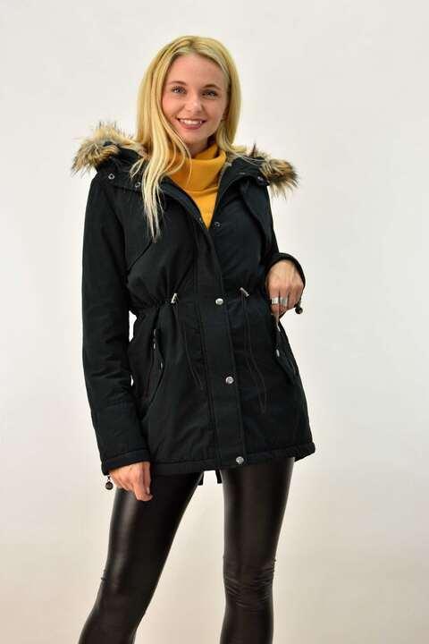 Γυναικείο μπουφάν τύπου παρκά μαύρο - Μαύρο