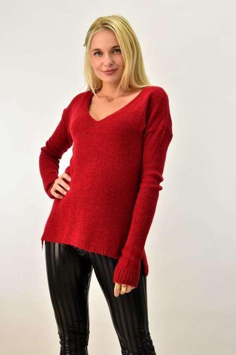 Γυναικεία πλεκτή μπλούζα με V - Κόκκινο