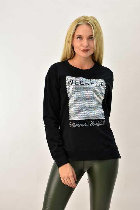 Γυναικεία μπλούζα φούτερ με απλικέ - Μαύρο