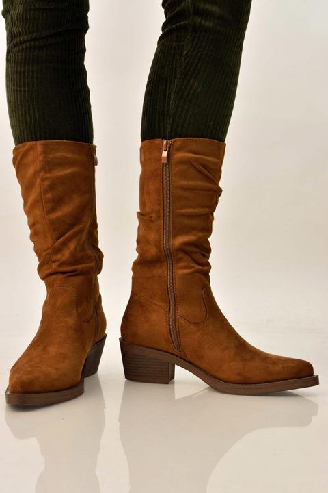 Γυναικείες μπότες suede τύπου western - Καφέ