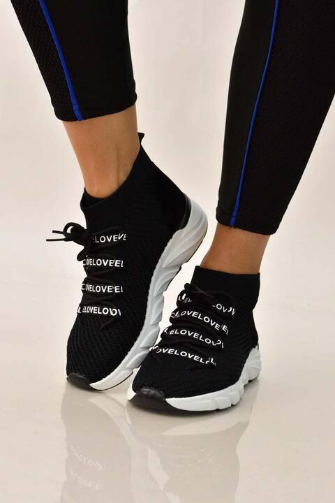 """Αθλητικό παπούτσι """"love"""" - Μαύρο"""