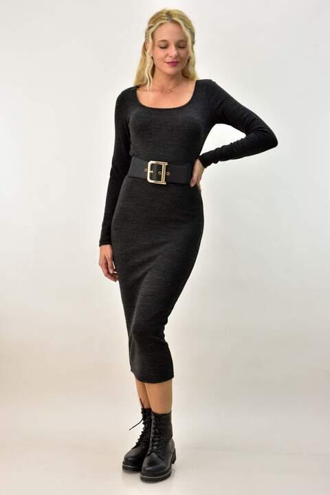 Midi φόρεμα εφαρμοστό - Ανθρακί