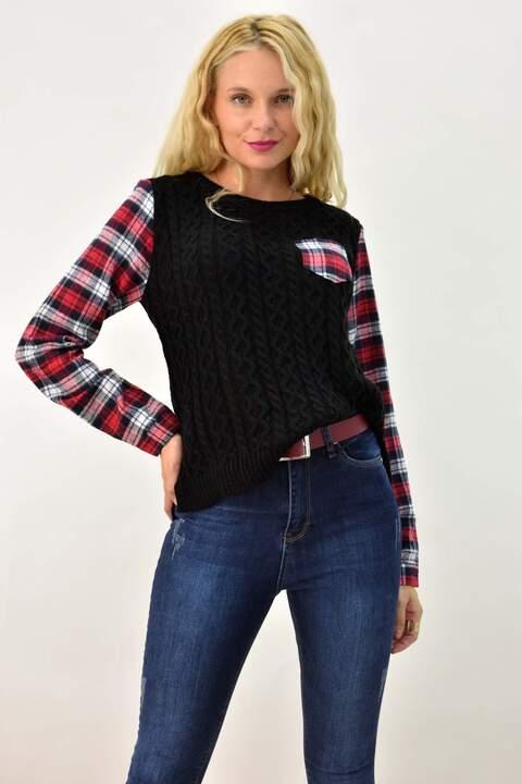 Πλεκτή μπλούζα με μανίκι τύπου πουκάμισο - Μαύρο
