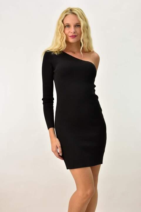 Γυναικείο φόρεμα με έναν ώμο - Μαύρο