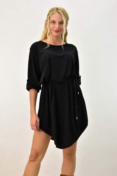 Γυναικείο φόρεμα με ζωνάκι - Μαύρο