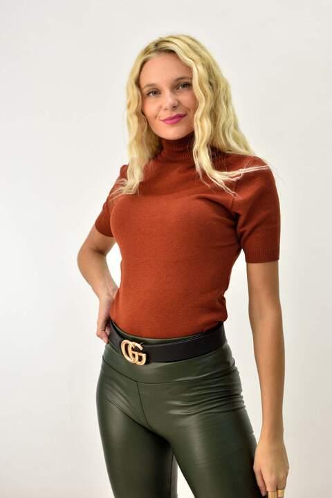 Πλεκτή μπλούζα με γιακά ζιβάγκο - Κεραμιδί