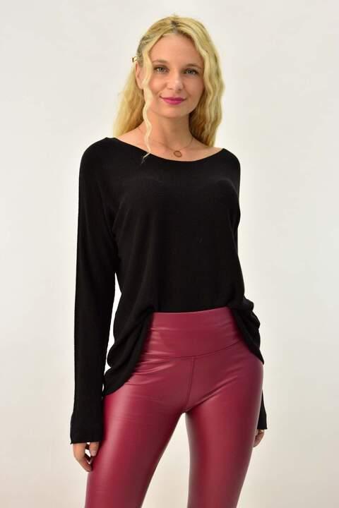 Πλεκτή μπλούζα με μακρύ μανίκι - Μαύρο