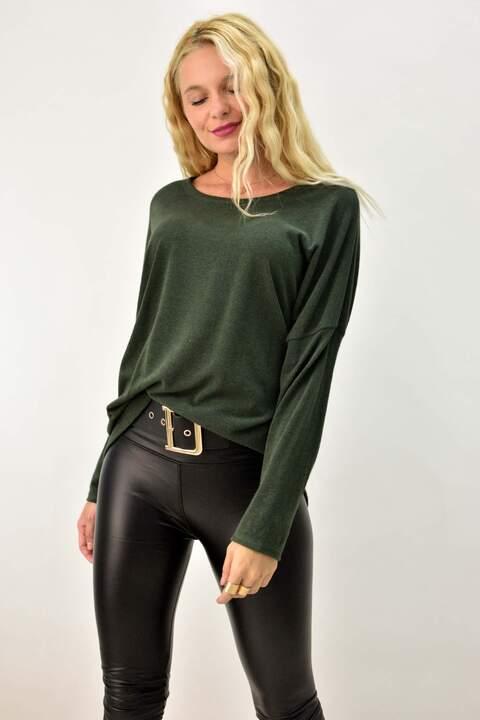 Γυναικεία πλεκτή μπλούζα - Χακί