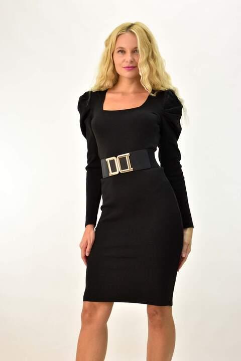 Φόρεμα με σούρα στον ώμο - Μαύρο