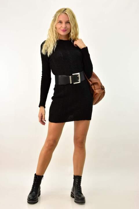 Πλεκτό κοντό φόρεμα - Μαύρο
