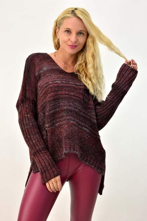 Γυναικεία πλεκτή μπλούζα με σκισίματα - Μπορντώ