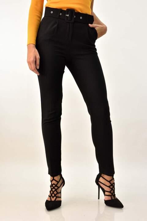 Γυναικείο παντελόνι με ζώνη - Μαύρο