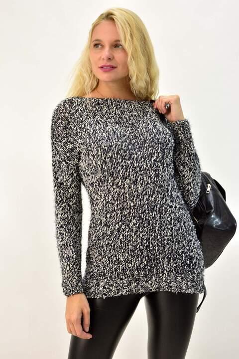 Γυναικείο πλεκτό πουλόβερ - Ανθρακί