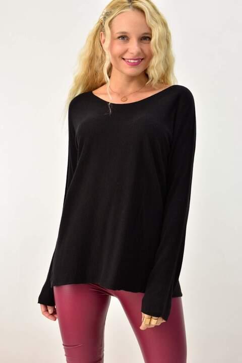 Γυναικεία πλεκτή μπλούζα με μακρύ μανίκι - Μαύρο