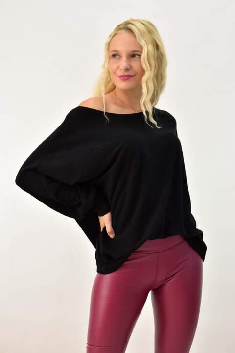 Πλεκτή μπλούζα με μανίκι νυχτερίδα - Μαύρο