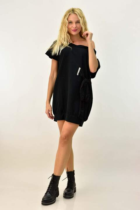 Kοντό φόρεμα suede με φιόγκο - Μαύρο