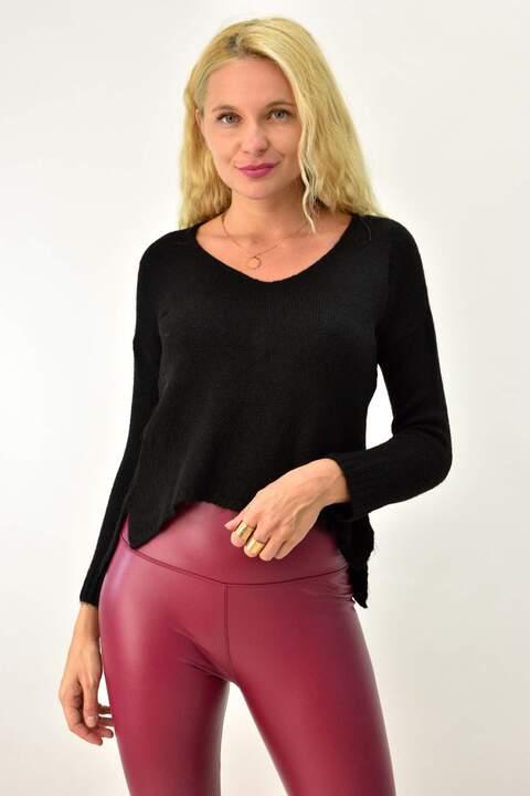 Basic πλεκτή μπλούζα - Μαύρο